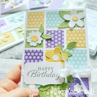Photo of my patchwork style card made with the Pierced Blooms dies
